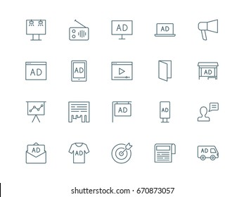 Advertising set of vector icons