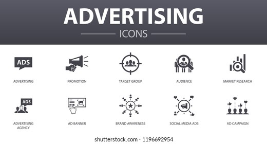 advertising simple concept icons set. Contains such icons as Market research, Promotion, Target group, Brand Awareness and more, can be used for web, logo, UI/UX