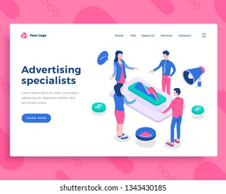 Advertising specialists concept, office people and interact with graph. Landing page template. 3d isometric vector illustration.
