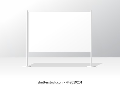 Advertising stand board empty banner template, signboard mockup, advertisement signboard presentation design, modern billboard vector illustration isolated