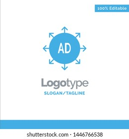 Advertising, Submission, Advertising Submission, Ad Blue Solid Logo Template. Place for Tagline