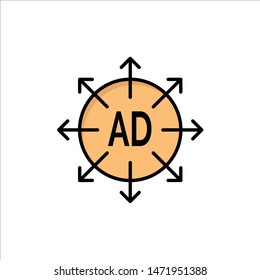 Advertising, Submission, Advertising Submission, Ad  Flat Color Icon. Vector icon banner Template