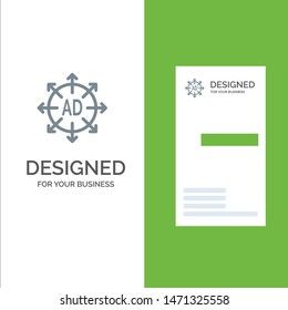 Advertising, Submission, Advertising Submission, Ad Grey Logo Design and Business Card Template. Vector Icon Template background