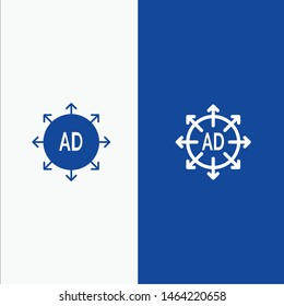 Advertising, Submission, Advertising Submission, Ad Line and Glyph Solid icon Blue banner Line and Glyph Solid icon Blue banner. Vector Icon Template background