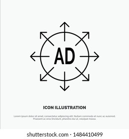 Advertising, Submission, Advertising Submission, Ad Line Icon Vector. Vector Icon Template background