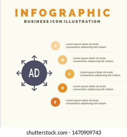 Advertising, Submission, Advertising Submission, Ad Solid Icon Infographics 5 Steps Presentation Background. Vector Icon Template background