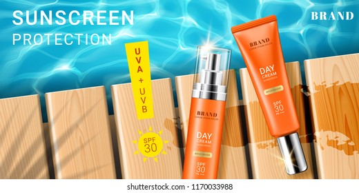 Advertising for sunscreen cream and spray. 3d tube and realistic bottle or falcon with lotion for skincare at beach, pier at ocean, sea. Branding and packaging design template, cosmetic theme