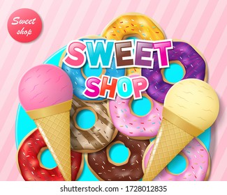 Advertising for sweet bakery or candy shop and cafe. Donuts and ice cream on blue plate. Colorful sweet candy shop ads. Poster for children s birthday party. Vector