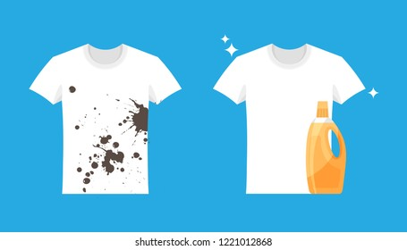 Advertising of washing powder and detergent. Clothes before and after wash. Flat blank and dirty t-shirt. Mock up of white shirts isolated on blue background.