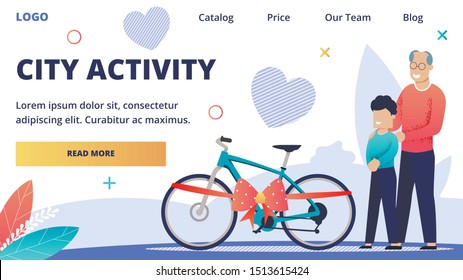Advertising Web Banner Inscription City Activity. Joyful Grandfather Shows his Grandson his Gift. Happy Boy Rejoices at his Gift. child's Bike for Outdoor Activities. Vector Illustration.