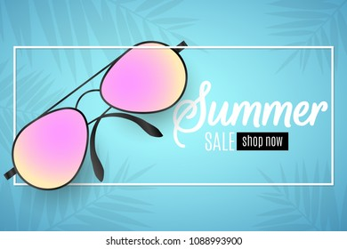 ffbe4bffb421 Advertising web banner for summer sale. Beach sunglasses in a white frame  on a blue