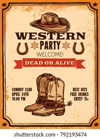 Advertising of western party with hat two pistols cowboy boots and title hand drawn poster vector illustration