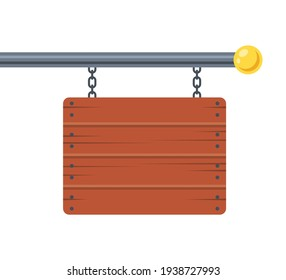 advertising wooden sign hanging on a metal pole. flat vector illustration.