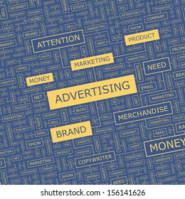 ADVERTISING. Word cloud illustration. Tag cloud concept collage. Vector text illustration.