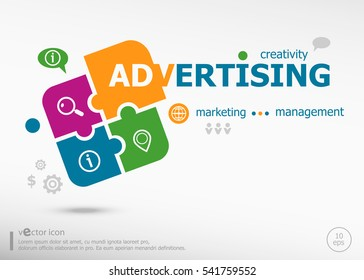 Advertising word cloud on colorful jigsaw puzzle. Infographic business for graphic or web design layout