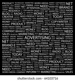 ADVERTISING. Word collage on black background. Illustration with different association terms.
