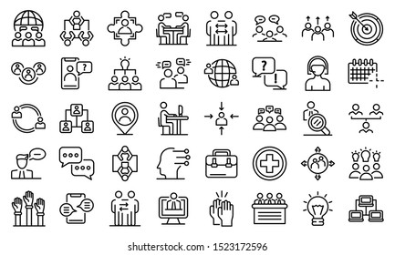 Advice icons set. Outline set of advice vector icons for web design isolated on white background