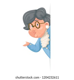 Advice look out corner grandmother talking wise old woman granny adult character icont cartoon design vector illustration