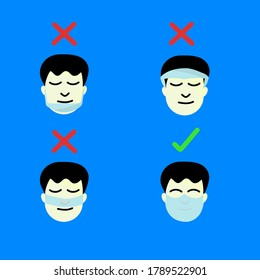 Advice for wearing safety mask usage for best protection from sickness and pollution. Vector