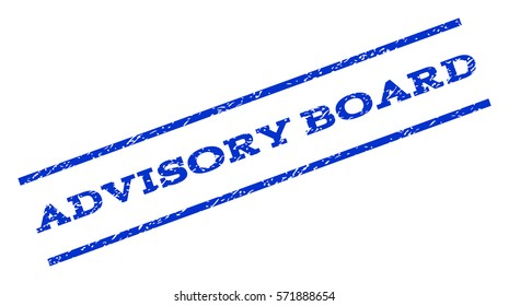 Advisory Board watermark stamp. Text caption between parallel lines with grunge design style. Rotated rubber seal stamp with dust texture. Vector blue ink imprint on a white background.