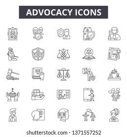 Advocacy line icons, signs set, vector. Advocacy outline concept, illustration: advocacy,business,concept,deadvocate,law,court,idea