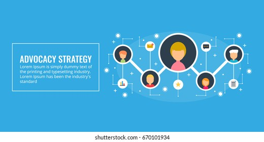 Advocacy Strategy, word of mouth, advocacy potential, offline marketing, and branding. Flat vector banner illustration