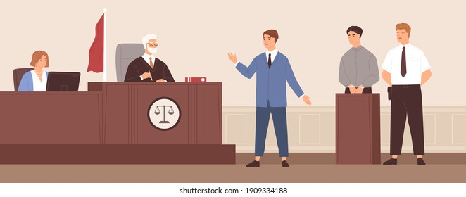 Advocate or barrister giving speech in courtroom in front of judge during trial process. Legal defense of accused person. Defendant in handcuffs at court tribune. Colorful flat vector illustration