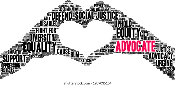 Advocate word cloud on a white background.