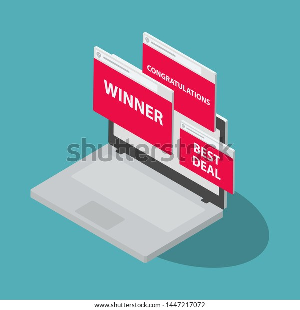 Adware internet cyber attack symbol with laptop and popup windows, isolated on blue background. Flat design, easy to use for your website or presentation.