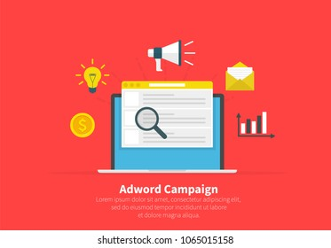 Adword campaign concept, Search marketing, PPC advertising banner. Flat cartoon design, vector illustration on background