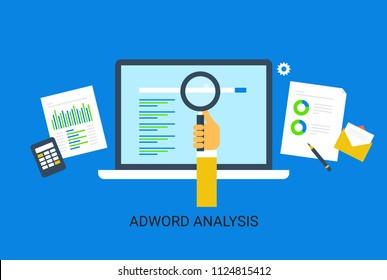 Adwords analysis, Adwords marketing, Search engine marketing - flat design vector illustration isolated on blue background