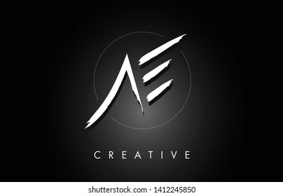 AE A E Brushed Vector Letter Logo Design with Creative Modern Brush Lettering Texture and Hexagonal Shape. Brush Letters Design Logo Vector Illustration.