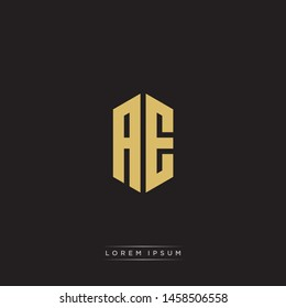 AE A E Logo Emblem Capital Letter Modern Template EPS 10 With Black Background