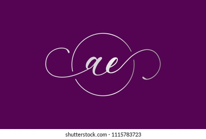 ae ea a e Lowercase Circular Cursive Letter Initial Logo Design Template Vector Illustration