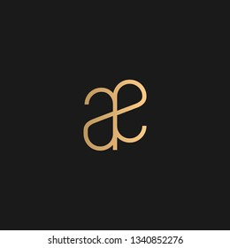 AE or EA logo vector. Initial letter logo, golden text on black background