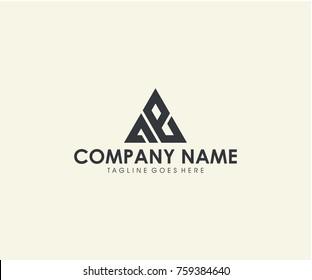 AE initial triangle logo design