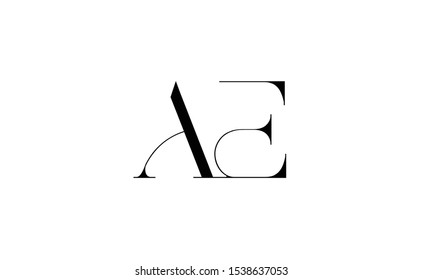 AE Letter Logo Design with Creative Modern Trendy Typography