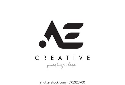 AE Letter Logo Design with Creative Modern Trendy Typography and Black Colors.