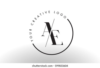 AE Letter Logo Design with Creative Intersected and Cutted Serif Font.