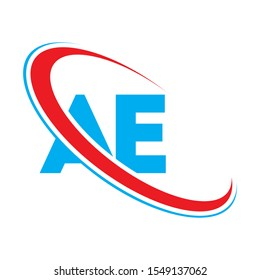 AE Letter logo design, AE Letter, AE logo. AE initial letter logo colored red and blue, Vector logo design template elements for your business or company identity.