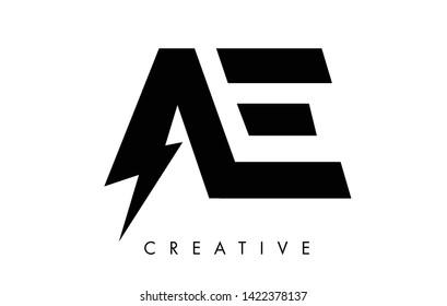 AE Letter Logo Design With Lighting Thunder Bolt. Electric Bolt Letter Logo Vector Illustration.