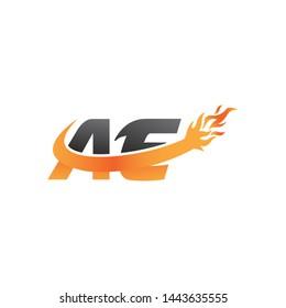 AE Letter Logo with Fire Flames . Modern minimalist Orange Swoosh Vector Illustration logo Design template