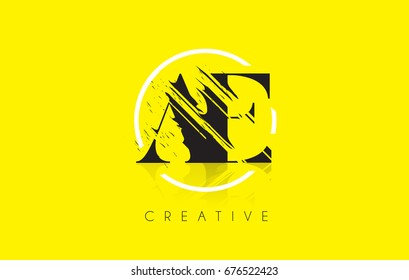 AE Letter Logo with Vintage Grundge Cut Design. Destroyed Drawing Elegant Letter Icon Vector.