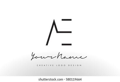 AE Letters Logo Design Slim. Simple and Creative Black Letter Concept Illustration.