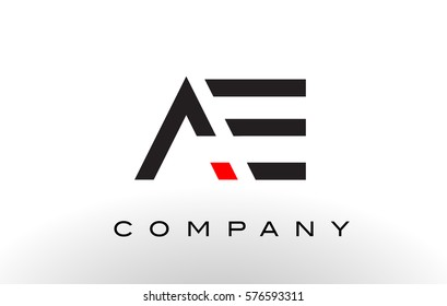 AE Logo.  Letter Design Vector with Red and Black Colors.