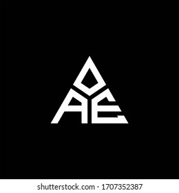 AE monogram logo with 3 pieces shape isolated on triangle design template
