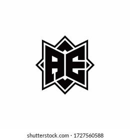 AE monogram logo with square rotate style outline design template