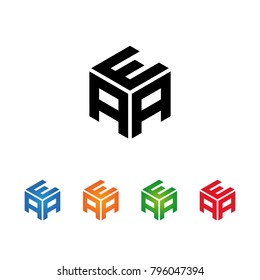 AEA,EAA,AAE letters Logo Initial Template.Modern Style. Hexagon concept.Black,Blue,Orange,Green,Red color on white background