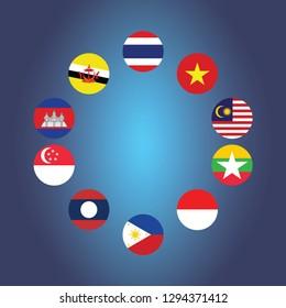 AEC Asean Economic Community flag symbols. Vector illustration. AEC Southeast Asia flag icon, vector illustration. Member of Asean economic community. Association of Southeast Asian Nations and member