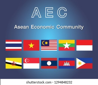 AEC Asean Economic Community flag symbols. Vector illustration. AEC Southeast Asia flag icon, vector illustration. Member of Asean economic community. Association of Southeast Asian Nations and member